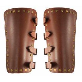Läder rustningsarmar Marius, brun