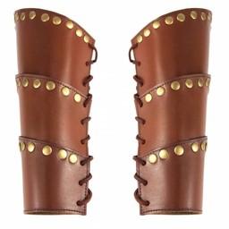 Läder rustningsarmar Victor, brun