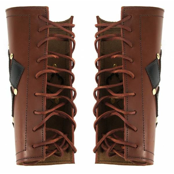 Leather vambraces Pius, brown