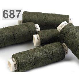Hilo de lino verde oscuro 50m