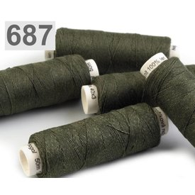 Linen yarn dark green 50m