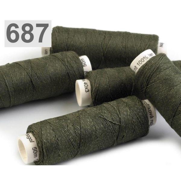 Linen yarn dark green 50m