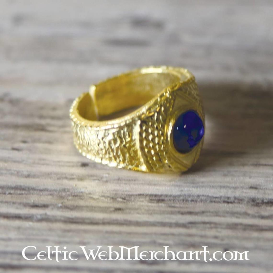 Pozłacane średniowieczny pierścień, niebieski