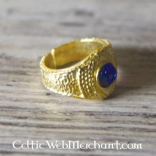 Vergulde middeleeuwse ring, blauw