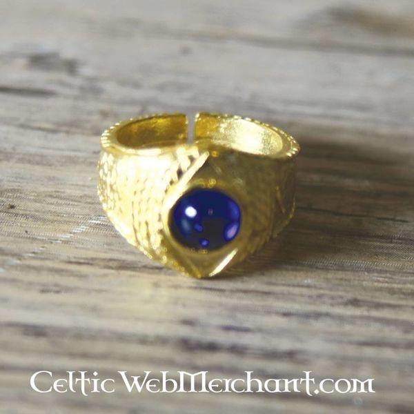 Forgyldt middelalderlig ring, blå