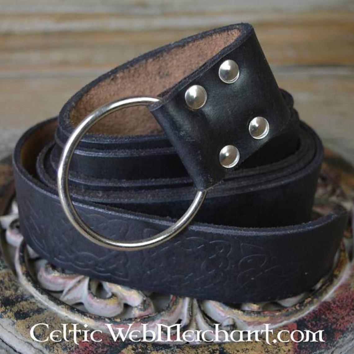 Leonardo Carbone Riem met ringsluiting, Keltische knopen, zwart