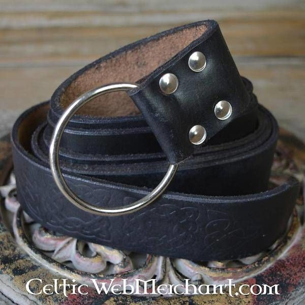 Leonardo Carbone Ring bælte med Keltisk knude, sort