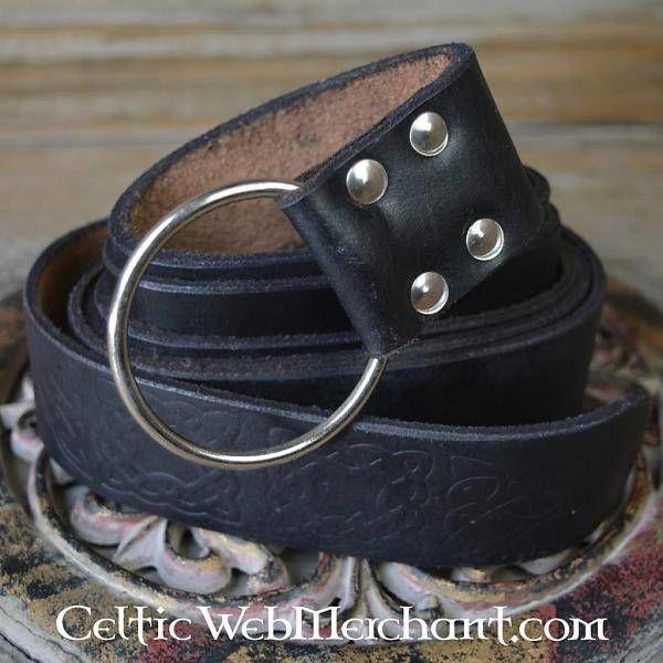 Riem met ringsluiting, Keltische knopen, zwart