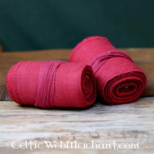 Leg wrappings with herringbone motive, red