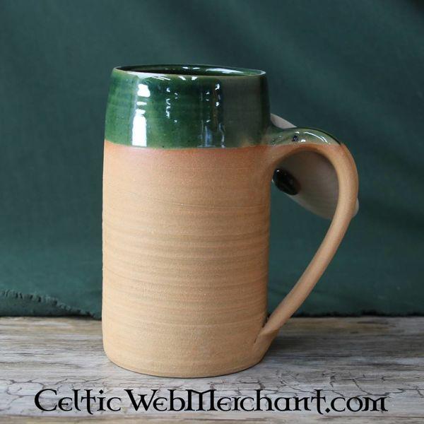 Historisk ølkrus fra Clay, 1.0L med træ låg