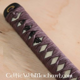 Samurai sword grip with leather wrapping