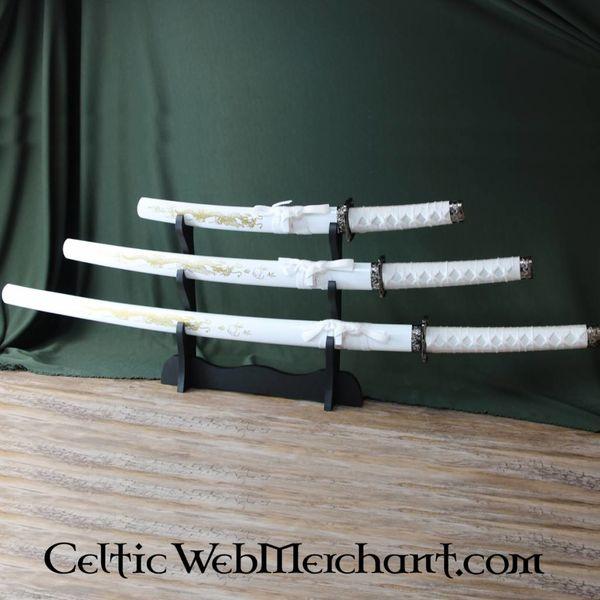 Witte draak katana, wakizashi & tanto