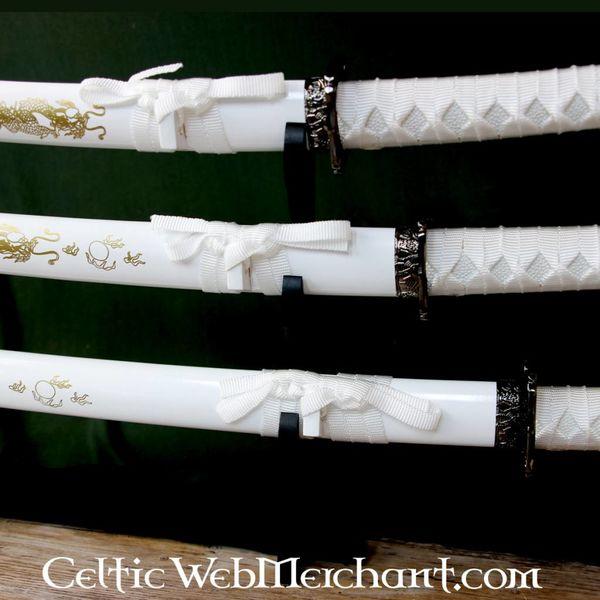 White dragon katana, wakizashi & tanto