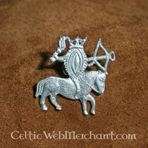 14th century gothic brooch, silvered
