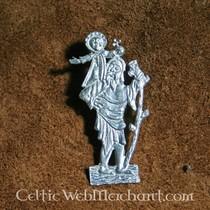 Spilla a quadrifoglio medievale, argentata