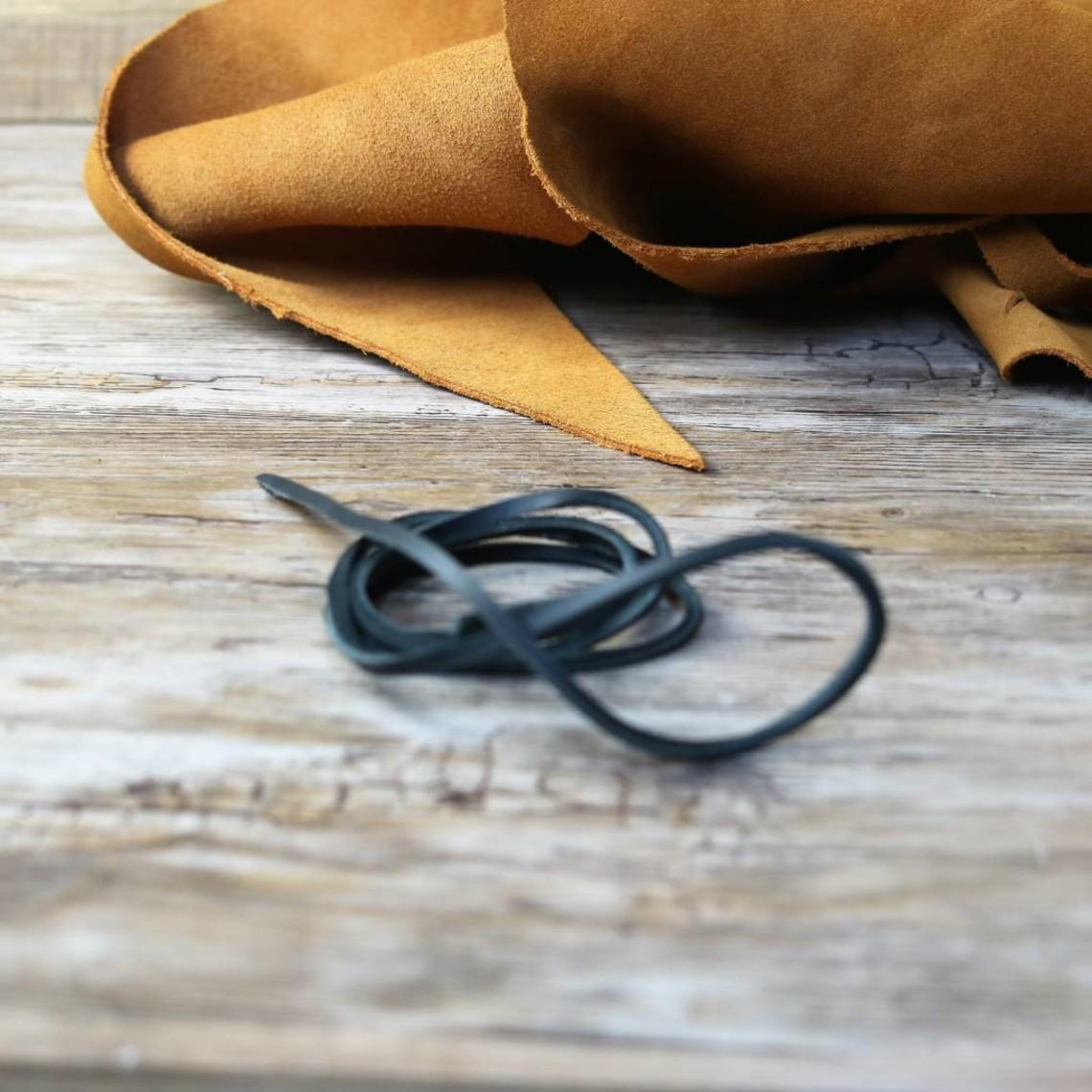 Leren veter zwart, 130 cm