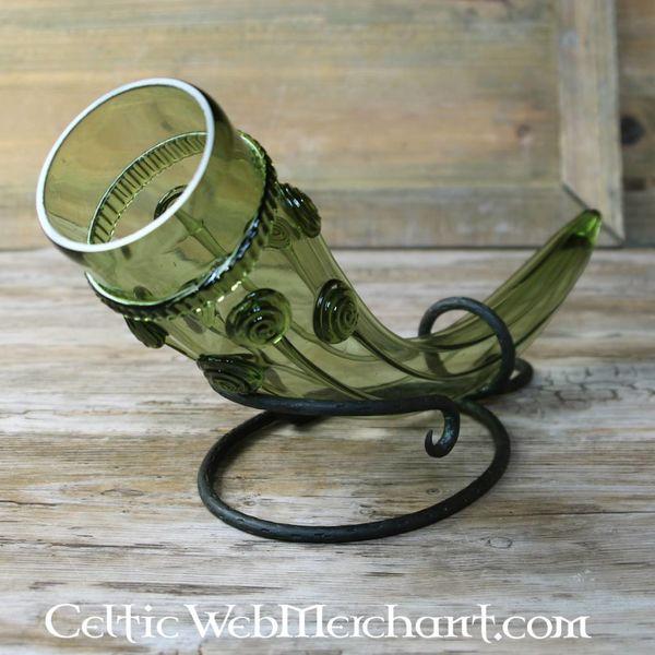Cuerno bebedor de vidrio primitivo medieval