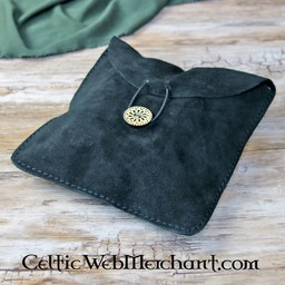 Suede bag Fleur large, black