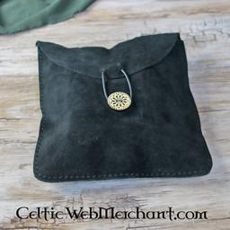 Suede tas Fleur groot, zwart