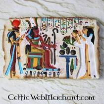 Egyptisch relief Farao Ramses III, tempel Medinet Haboe