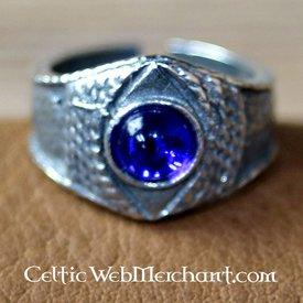 Medieval pewter ring, blue