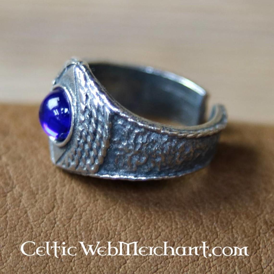 Anillo medieval de peltre, azul