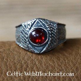 Medeltids tenn ring, röd