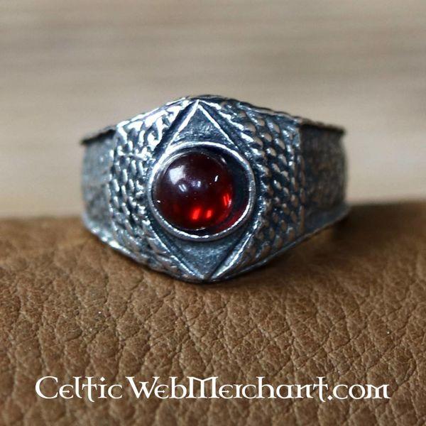 Bague médiévale en étain, rouge