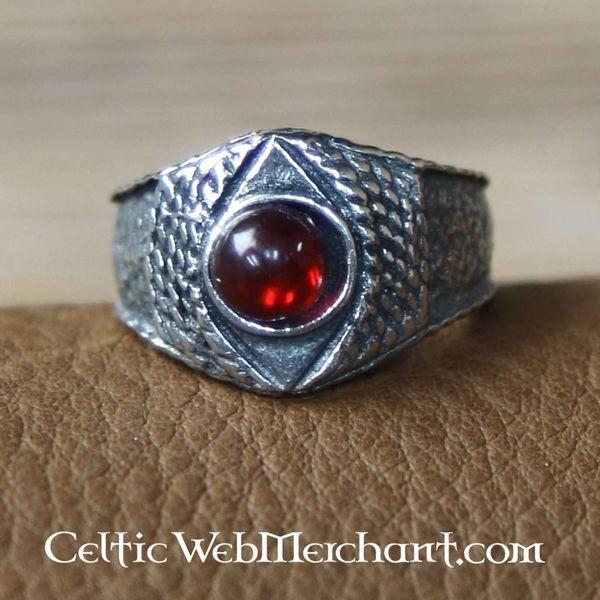 Middelalder tin ring, rød