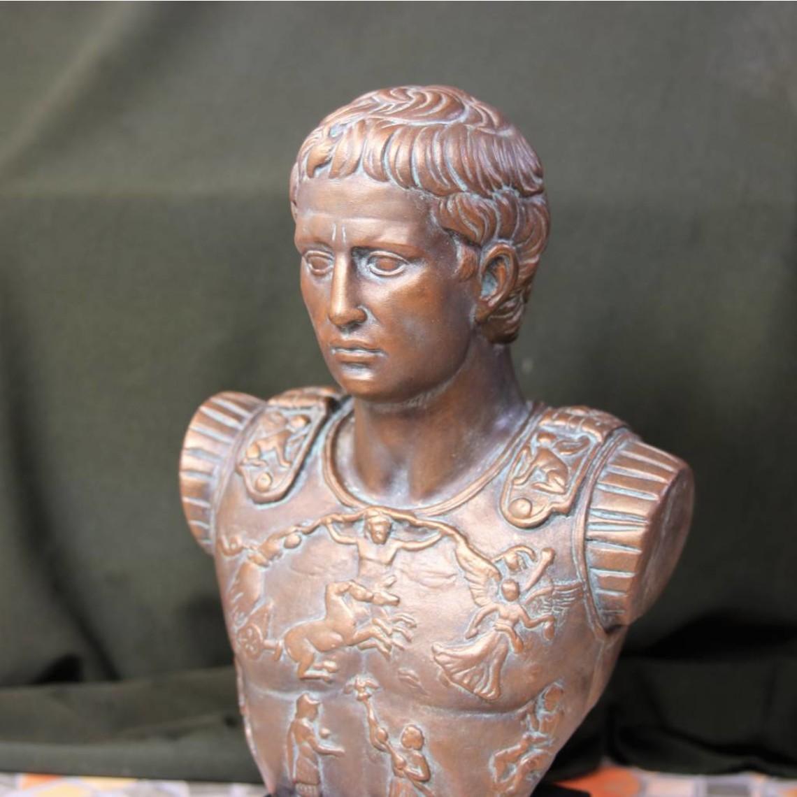 Bronzato busto imperatore Augusto