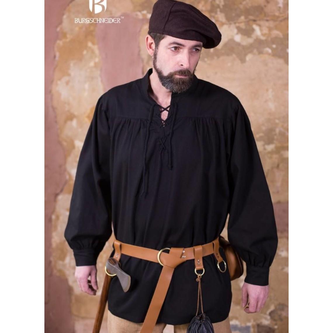 Burgschneider Camisa renacentista Störtebecker, negro