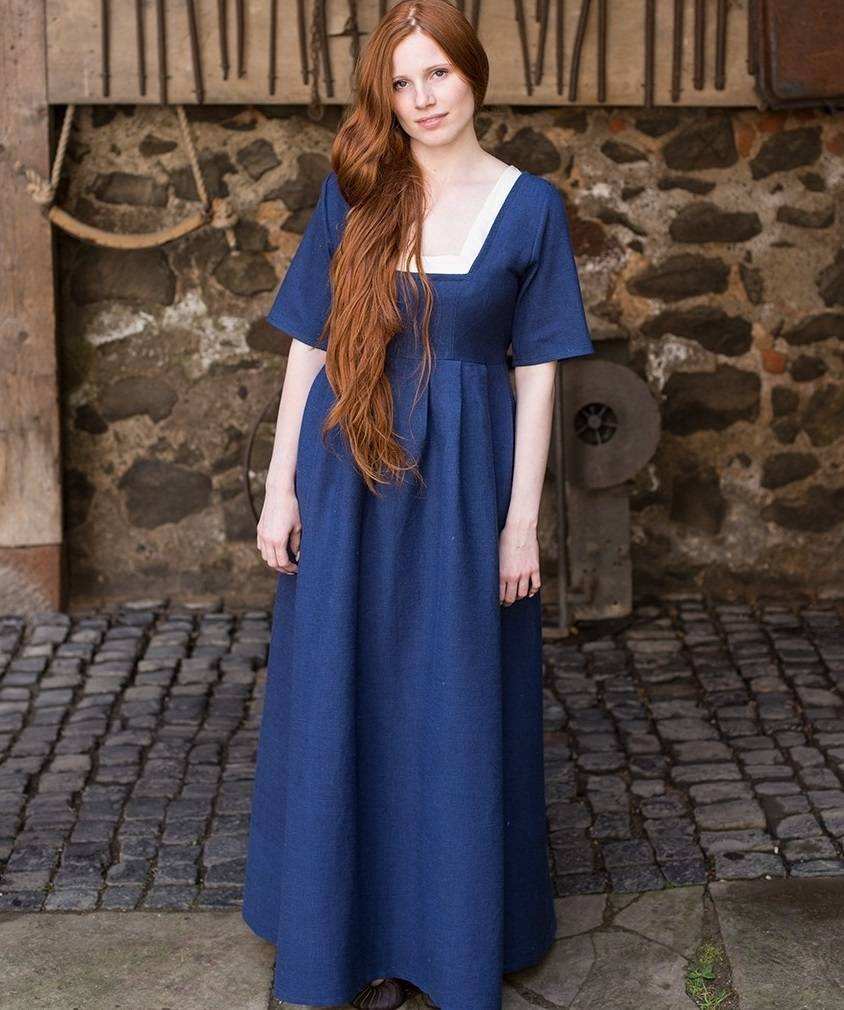Medieval dress Frideswinde blue - CelticWebMerchant.com