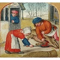 Burgschneider Manches Robe médiévale Frideswinde bleu