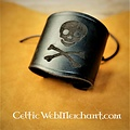 House of Warfare Pulsera pirata de cuero Jolly Roger