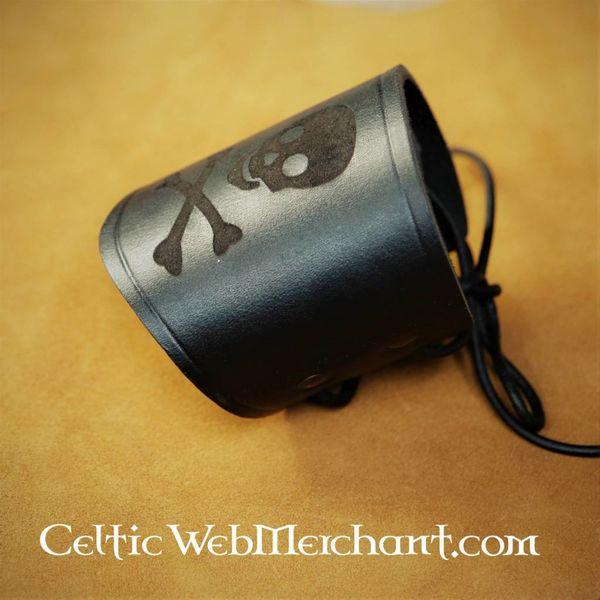 House of Warfare Leather pirate bracelet Jolly Roger