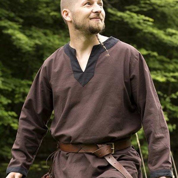 Epic Armoury Middeleeuwse tuniek met lange mouwen bruin