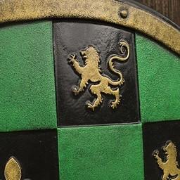 LARP Checkered Schild grün / schwarz / gold