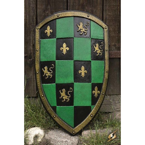 Epic Armoury vert / noir / or LARP Bouclier Checkered