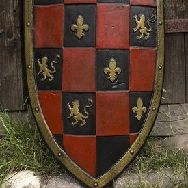 Epic Armoury LARP Checkered Shield rouge / noir / or