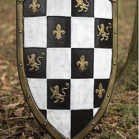 Epic Armoury Bouclier LARP damiers blanc / noir / or