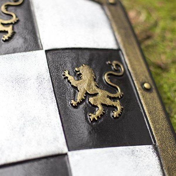 Epic Armoury LARP Checkered Shield white/black/gold