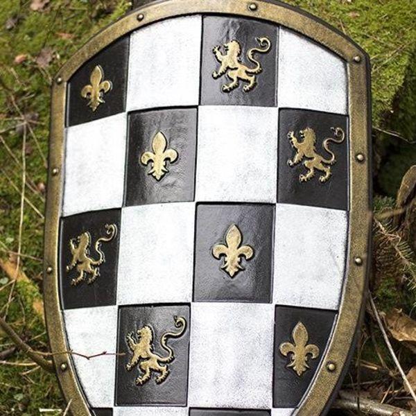 Epic Armoury LARP geblokt schild wit/zwart/goud