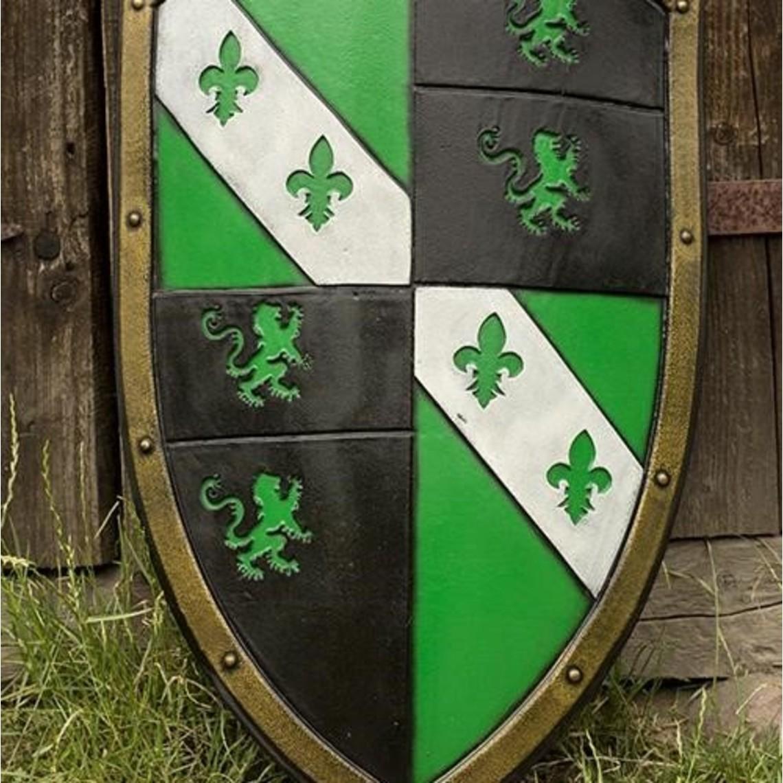 Epic Armoury LARP León escudo verde / negro / blanco