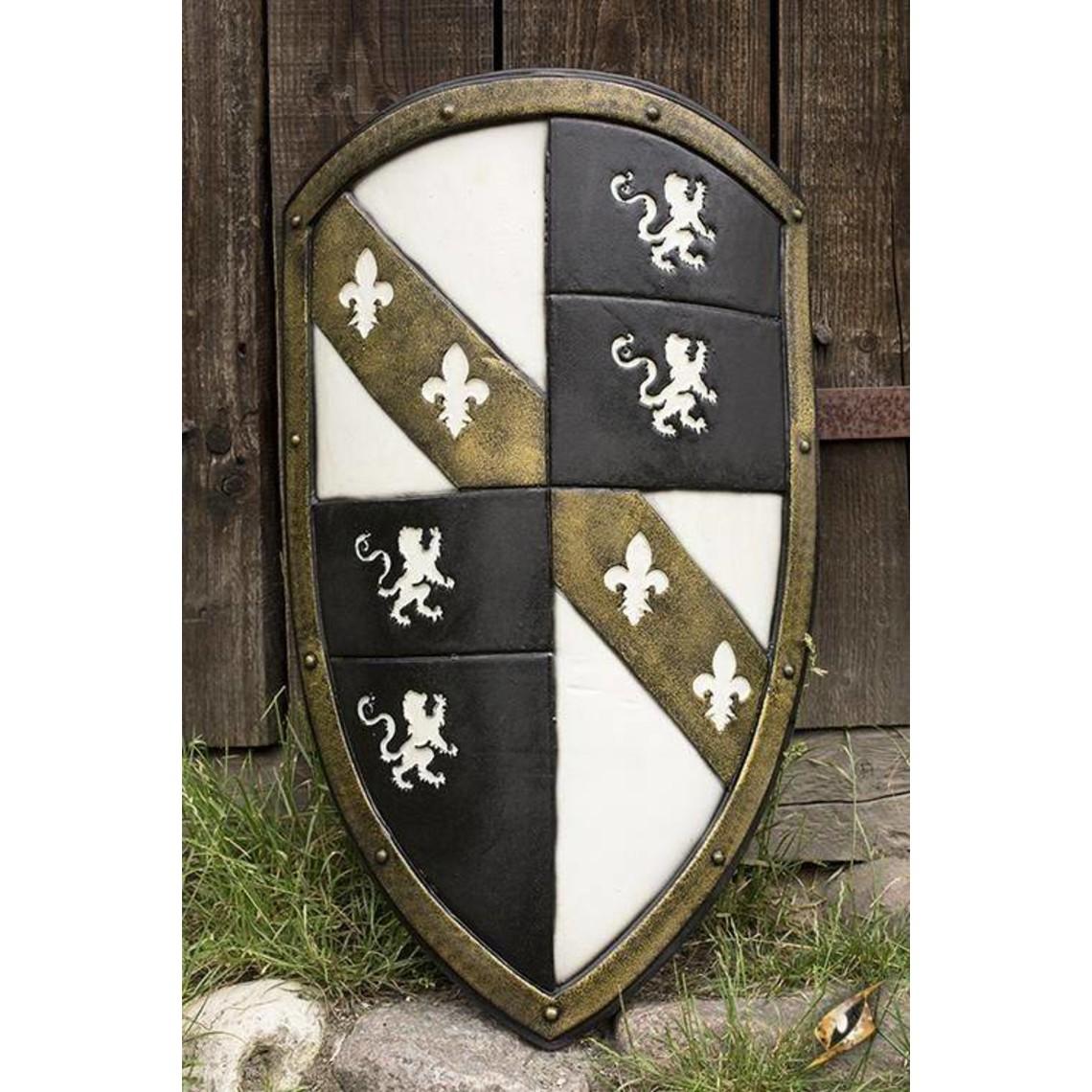 Epic Armoury Lion LARP bouclier blanc / noir / or