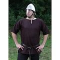 Ulfberth Túnica vikinga con mangas cortas, marrón, M, ¡oferta especial!