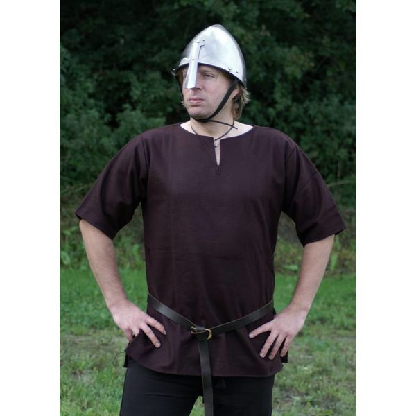 Ulfberth Viking tunika med korte ærmer, brun, M, Tilbud!