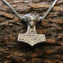 Viking dragon pendant, silvered