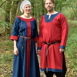 (Early) średniowieczny tunika Clovis, czerwono-niebieski