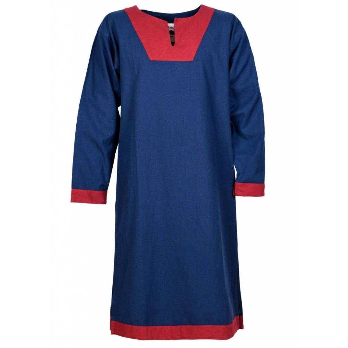 Tunique médiévale Clovis, bleu-rouge