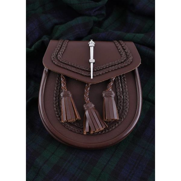 Sporran with braid motif, brown